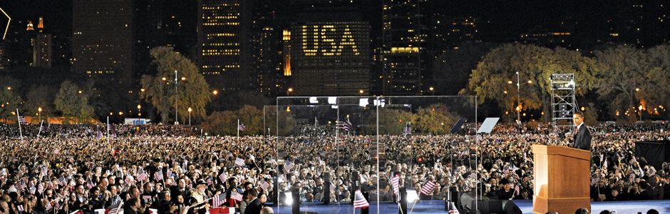 Thousands Watch Obama's Victory in the 2008 Presidential Election at Grant Park in Downtown Chicago